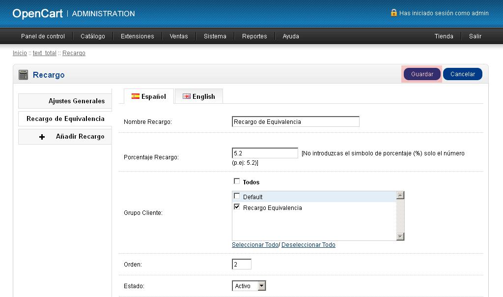 Recargo Equivalencia Opencart
